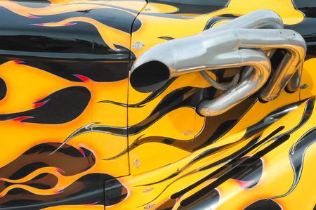flaming paintwork on a custom auto streetrod photo