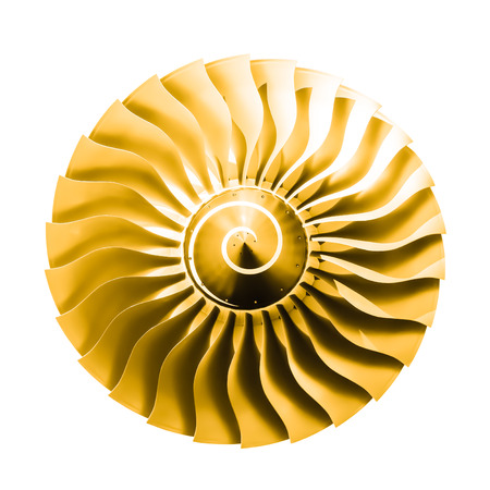 turbine engine: jet engine as an isolated golden sun graphics element