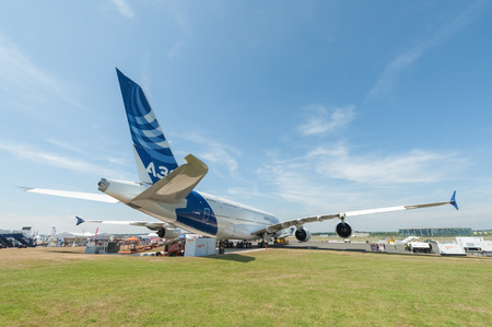 doubledecker: Farnborough, UK - July 18, 2014  Double-decker Airbus A380 jet airliner on static display at the Farnborough airshow, UK