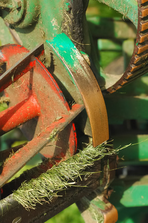 grass cutting: lawnmower grass cutting machinery blades and roller Stock Photo