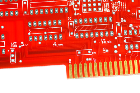 circuitboard: red computer circuitboard isolated on white