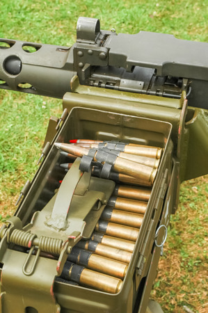 caliber: large caliber machine gun ammunition ready for firing Stock Photo