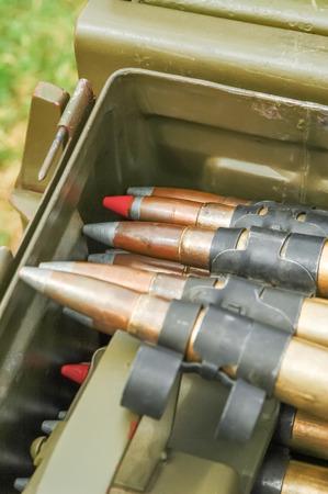 guerrilla warfare: large caliber machine gun bullets Stock Photo