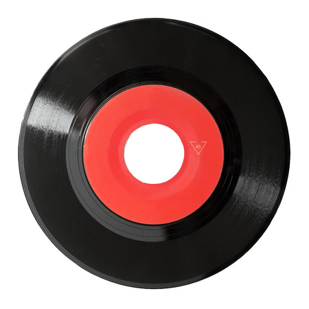 oldie: seven inch 45 rpm vinyl record isolated on white Stock Photo