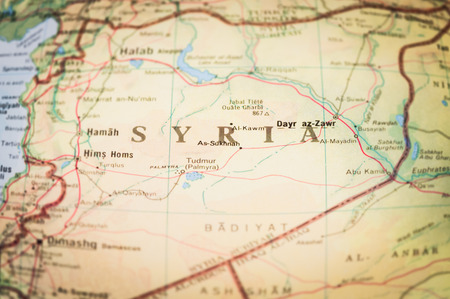 syrian war: map of the middleeast region of Syria