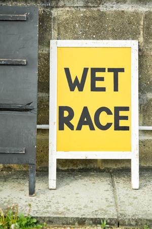 motorsport: wet race sign at a motorsport circuit