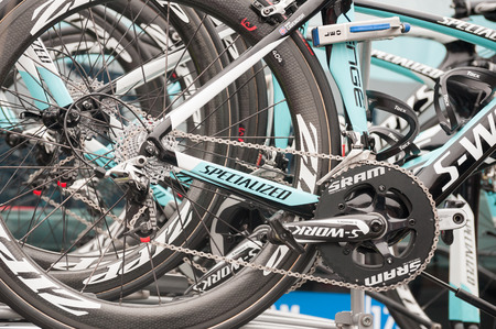 pharma: Camberley, UK - September 13, 2014: Omega Pharma Quick-step team bikes before a stage of the Tour of Britain Editorial