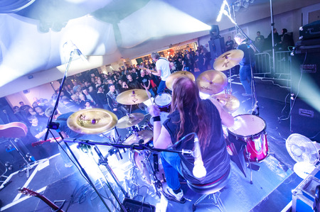 drum kit: Southsea, UK - March 21, 2015: Vintage British rock band Truffle on stage at the Southsea Pyramid venue near Portsmouth, UK Editorial
