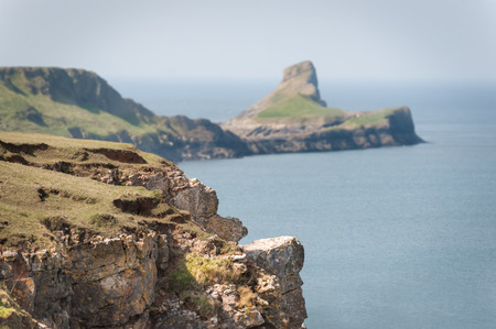 coastlines: the picturesque Worms Head Peninsula, South Wales UK
