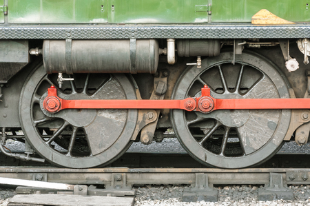 coupling: wheels and coupling rods on a vintage locomotive Stock Photo