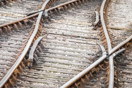 railway points: closeup of rusty railroad tracks