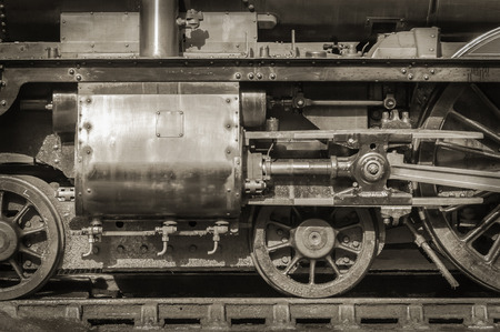 steam locomotive: sepia toned vintage steam locomotive engineering Stock Photo
