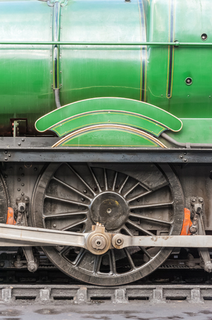 steam locomotive: vintage steam locomotive engineering closeup Stock Photo