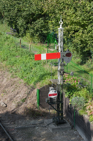 signals: vintage railroad semaphore signal point Stock Photo