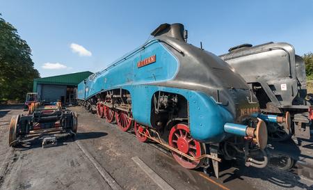 bittern: Ropley, UK - 19 September, 2015: Vintage steam locomotive LNER 4464 Bittern at the Mid-Hants Watercress railway station of Ropley, UK