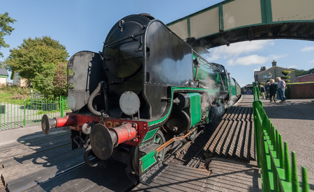 steam locomotive: Ropley, UK - 19 September, 2015: The vintage Cheltenham 925 steam locomotive at the Mid-Hants Watercress railway station of Ropley, UK Editorial