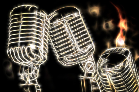 voices: flaming retro microphone fractal illustration