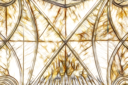 roof construction: ornate cathedral ceiling fractal illustration