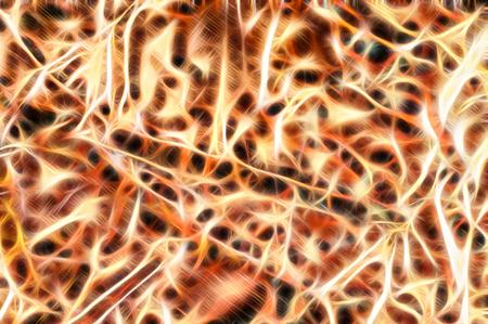 cellule nervose: brillante illustrazione luce dei segnali nervosi sparare nelle cellule