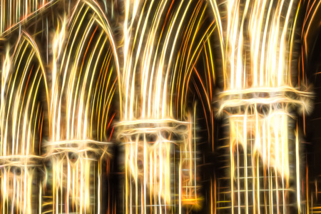 heavenly light: golden heavenly arches fractal illustration Stock Photo