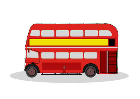 double decker bus: vintage red london bus illustration on white