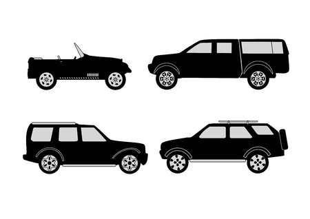 4x4: set of off-road 4x4 vehicles on white Illustration