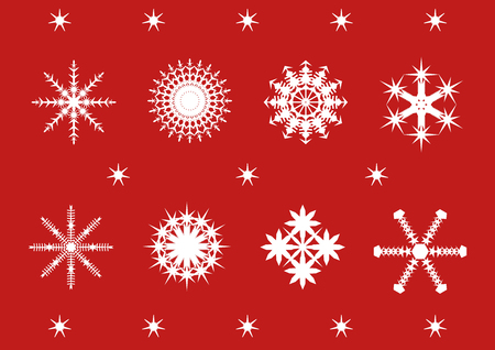 snowflake set: festive snowflake set on a red background