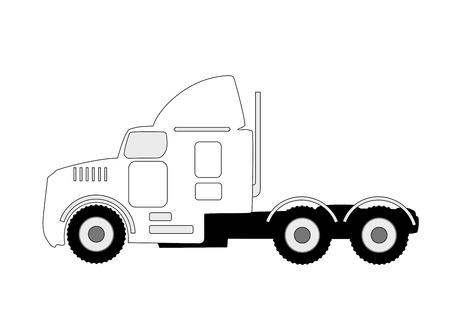 heavy vehicle: large semi truck silhouette illustration on white