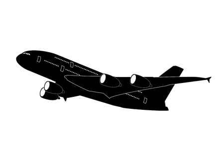 airliner: passenger jet airliner silhouette illustration Illustration