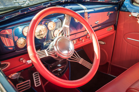 restoring: colorful interior detail of a 1950s restoration automobile