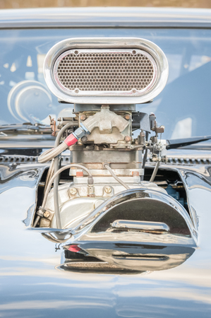 dragster: old high-performance  supercharged vehicle engine closeup Stock Photo