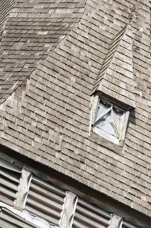 roof windows: derelict wooden slate belfry tower detail