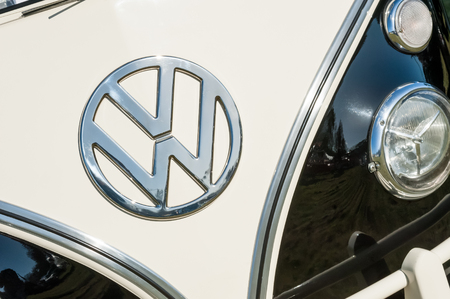 campervan: Rushmoor, UK - March 25, 2016: Vehicle badge closeup on a vintage Volkswagen Campervan. Editorial
