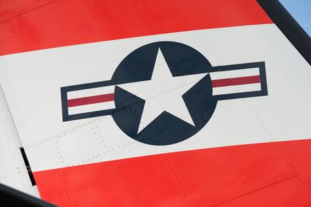 aircraft rivets: Farnborough, UK - July 15, 2016: Tail fin insignia closeup of a maritime patrol aircraft operated by the US Coast Guard. Editorial
