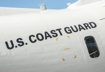 fuselage: Farnborough, UK - July 15, 2016: Fuselage closeup of a maritime patrol aircraft operated by the US Coast Guard. Editorial