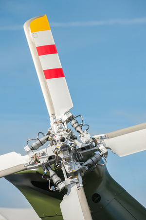 close-up of helicopter tail rotor blades