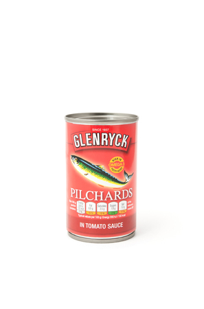 omega3: Yateley, UK - February 6, 2017: Can of Glenryck canned Pilchards on a white background. Pilchards are related to Herring and Sardines and sourced mainly from the South Atlantic Ocean, but are found in other Oceans. They are a good source of dietry omega-3