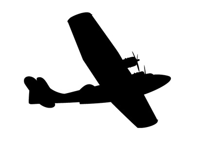 svg: silhouette of a vintage propeller flying boat on white