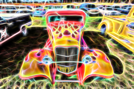 flaming hot rod vehicle with post process special effect
