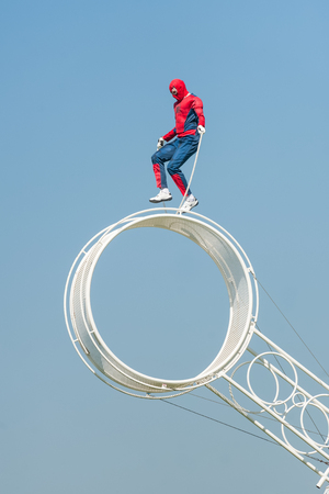 The Vander Brothers acrobatic circus act performing a dangerous skipping Spider-man stunt in Yateley, UK on May 7, 2018