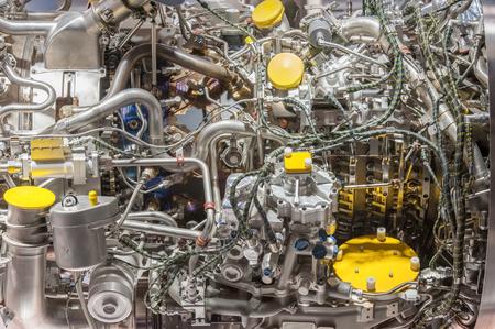 closeup detail of complex jet enhine componets