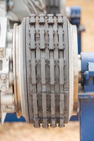 closeup of old aircraft rotor and stator friction plates inside aircraft brakes Stock fotó