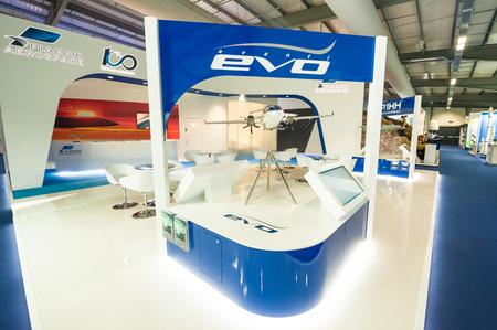 Farnborough, UK - July 20, 2018: Piaggio Aerospace business stand promoting the Avanti Evo aircraft range at a trade event in Farnborough, UK Editorial