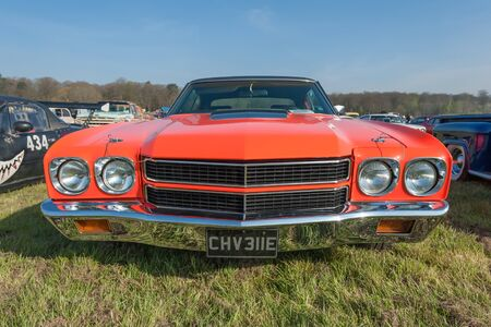 Vintage American Chevrolet with unique registration at a meeting of classic vehicles in Rushmoor, UK - April 19, 2019