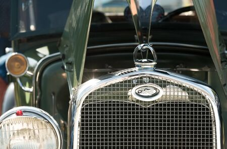 Front grille closeup of a vintage Ford automobile in Rushmoor, UK - April 19, 2019
