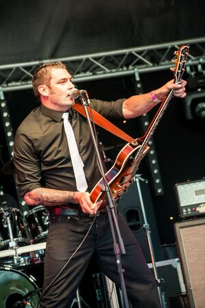 Lee Tilbury fronting duel act tribute band The Chilli Fighters at the GOTG Festival in Yateley, UK on June 30, 2012