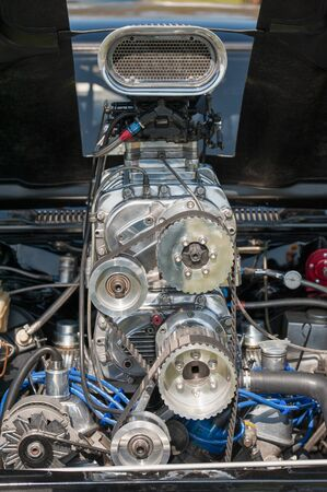 supercharger and engine detail on a custom built drag car