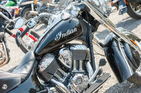 Closeup of a restored classic Indian motorcycle and other bikes in Rushmoor, UK - April 19, 2019