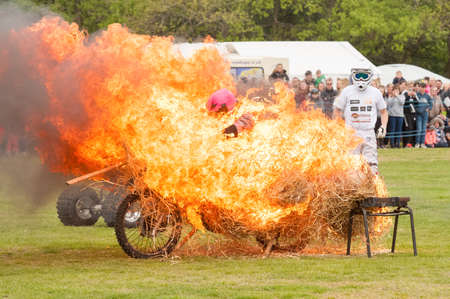Haley Rilings, Britain's top female motorcycle stunt rider performing in the Stunt Mania extreme sports show in Yateley, UK on May 6, 2019