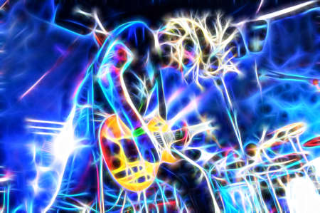 rock music lead guitarist with post process special effect